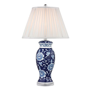 Blue and White Hand Paint One Light Table Lamp