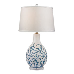 Sixpenny Pale Blue and White One Light Table Lamp