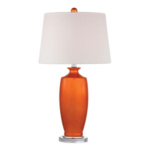 Halisham Tangerine Orangeand Polished Nickel One Light Table Lamp