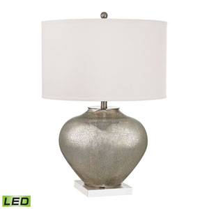 Edenbridge Antique Silver Mercury Glass and Crystal Two Light LED Table Lamp