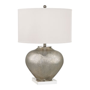 Edenbridge Antique Silver Mercury Glass and Crystal Two Light Table Lamp