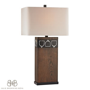 Triple Tack Hunt Antique Pine, Ob and Chrome One Light Table Lamp