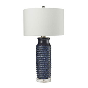 Wrapped Rope Navy Blue Clear LED Table Lamp