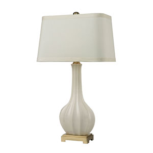 Fluted White Brass LED Table Lamp