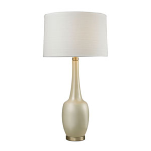 Modern Vase Cream and Antique Brass One-Light Table Lamp