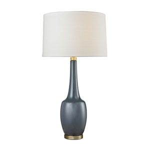 Modern Vase Navy Blue and Antique Brass One-Light Table Lamp