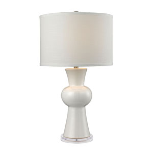 White Ceramic Gloss White One-Light Table Lamp