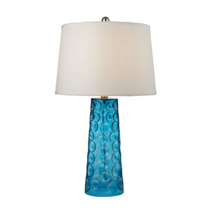Hammered Glass Blue LED Table Lamp