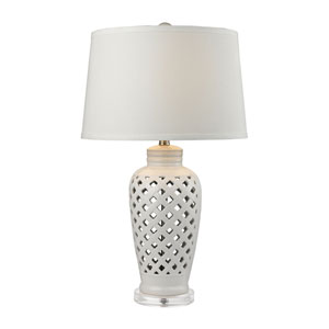 Openwork Ceramic White LED Table Lamp