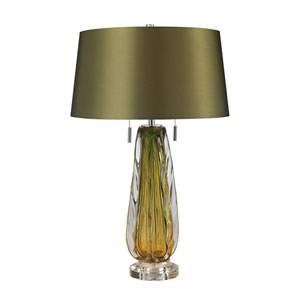 Modena Green Two-Light Table Lamp with Green Faux Silk Shade