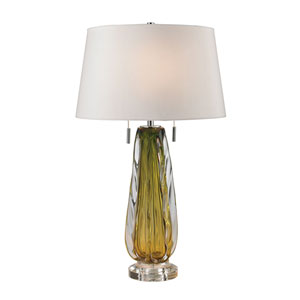 Modena Green Two-Light Table Lamp with White Faux Silk Shade