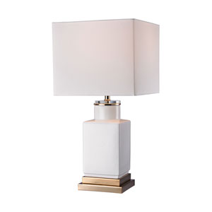 Cube Gloss White and Gold One-Light Table Lamp