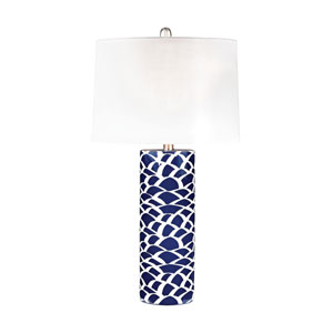 Scales Navy Blue and White One-Light Table Lamp