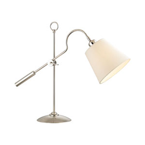Polished Nickel One-Light Desk Lamp with White Weave Faux Silk Shade