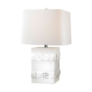 Alabaster LED Table Lamp with White Linen Square Hardback Shade With Rounded Corners and White Liner