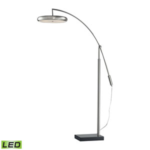 Brushed Steel LED Floor Lamp with Brushed Steel Finished Metal Shade