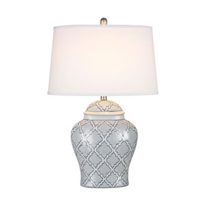 Aragon Blue And White Glaze One-Light Table Lamp