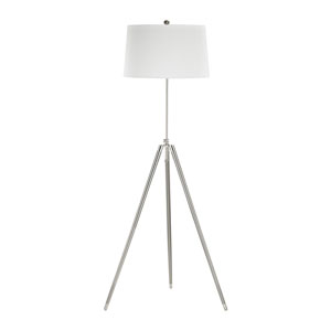 Academy Satin Nickel Polished Chrome One-Light Floor Lamp