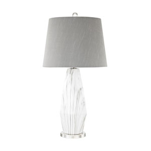 Sochi Polished Nickel and White Faux Marble One-Light Table Lamp