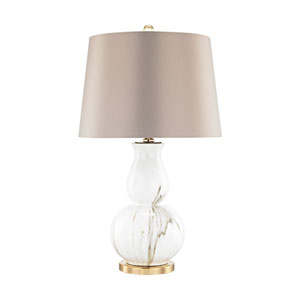 Vicenza Gold and White Faux Marble One-Light Table Lamp
