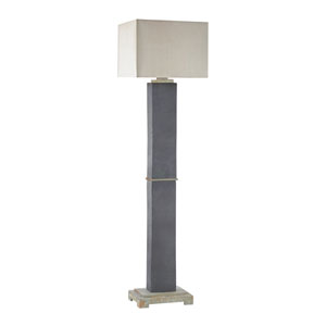 Elliot Bay Grey Slate LED Outdoor Floor Lamp with Rectangular Taupe Nylon Hardback Shade With Clear Styrene Liner