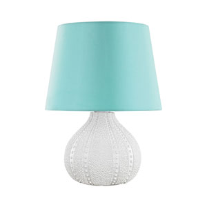 Aruba White LED Outdoor Table Lamp with Round Sea Green Nylon Shade With Clear Styrene Liner