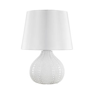 Aruba White LED Outdoor Table Lamp with Round Pure White Nylon Shade With Clear Styrene Liner