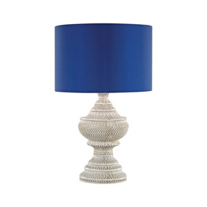 Kokopo Antique White One-Light Outdoor Table Lamp with Ultramarine Shade