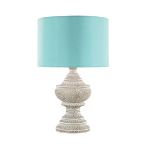 Kokopo Antique White LED Outdoor Table Lamp with Round Sea Green Nylon Shade With Clear Styrene Liner