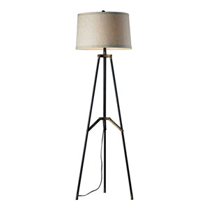 Functional Tripod Restoration Black Aged Gold LED Floor Lamp