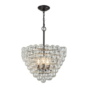 Cuvée Oil Rubbed Bronze and Clear Three-Light 19-Inch Chandelier