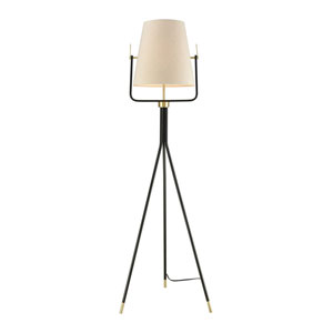 Cromwell Black Brass One-Light Floor Lamp