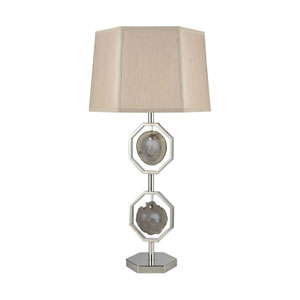 Askja Polished Nickel Natural Agate One-Light Dual Aria Table Lamp