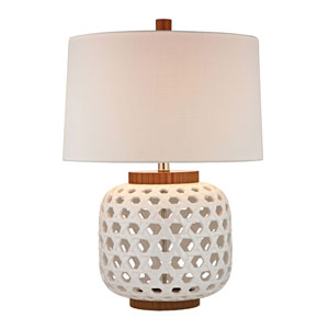 White 26-Inch Woven Ceramic Table Lamp