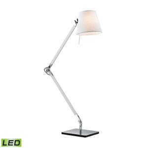 Modern White and Chrome One-Light LED Desk Lamp