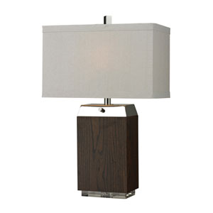 HGTV HOME Wood Veneer Table Lamp with Acrylic Base and Polished Nickel Accents