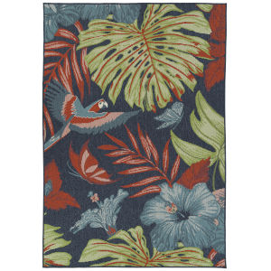 Amalie Navy Fower Rectangular: 5 Ft. x 7 Ft.6 In. Rug