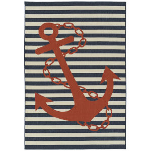 Amalie Navy Red Rectangular: 3 Ft.6 In. x 5 Ft.6 In. Rug