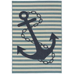 Amalie Light Blue Anchor Rectangular: 3 Ft.6 In. x 5 Ft.6 In. Rug