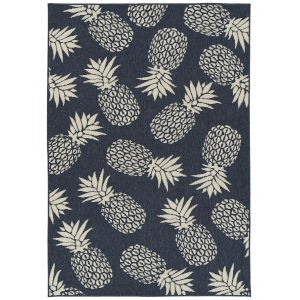 Amalie Navy Fruit Rectangular: 3 Ft.6 In. x 5 Ft.6 In. Rug