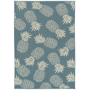 Amalie Light Blue Pattern Rectangular: 3 Ft.6 In. x 5 Ft.6 In. Rug