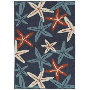 Amalie Navy Pattern Rectangular: 3 Ft.6 In. x 5 Ft.6 In. Rug