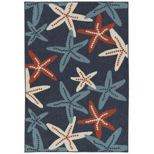 Amalie Navy Pattern Rectangular: 5 Ft. x 7 Ft.6 In. Rug
