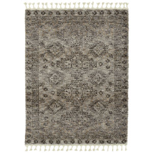 Duna Gray and Brown 5 Ft. 3 In. x 7 Ft. 3 In. Area Rug with Oversized Tassels