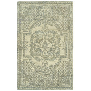 Effete Ivory and Olive 2 Ft. 6 In. x 8 Ft. Runner Rug