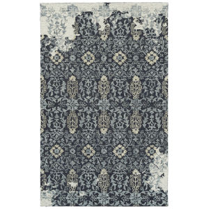 Elijah Navy, Silver and White 4 Ft. x 6 Ft. Area Rug