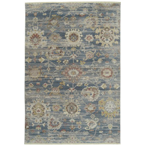 Rila Blue Pattern Rectangular: 7 Ft.10 In. x 10 Ft.10 In. Rug