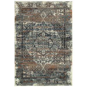 Memphis Blue and Orange 5 Ft. 3 In. x 7 Ft. 6 In. Area Rug