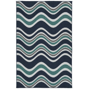Puerto Navy Wave Rectangular: 3 Ft.6 In. x 5 Ft.6 In. Rug