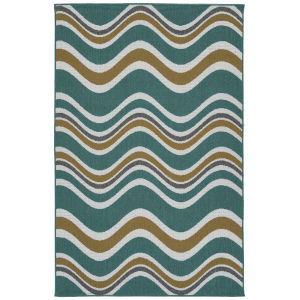 Puerto Light Blue Wave Rectangular: 3 Ft.6 In. x 5 Ft.6 In. Rug
